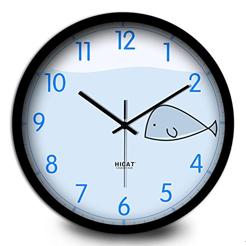 (Silent Wall Clock dustproof Glass Cover Blue Small Whale Creative Wall Clock Bedroom Kitchen Children's Room Home Electronic Quartz Clock, intuitive Digital Display)