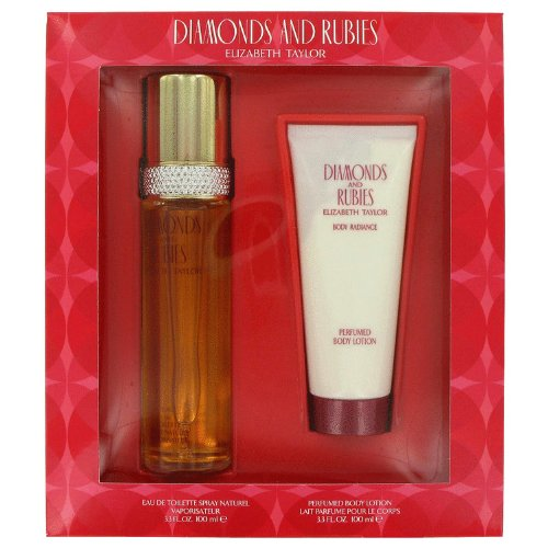DIAMONDS & RUBIES Women Gift Set Eau de Toilette 3.3oz Spray + 3.3oz LOTION by Elizabeth Taylor - Diamonds & Rubies Rose Perfume