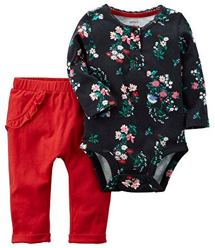 Carters Baby Girl 2 Piece (Carter's Baby Girls' 2 Piece Floral Bodysuit And Pants Set 9 Months)