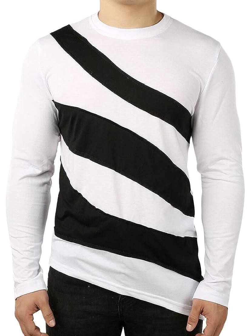 Generic Mens Hip-Hop Slim Irregular Long Sleeve Hipster Color Stitching T-Shirt