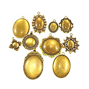GraceAngie 10 Sets Vintage Gold Mixed Setting Tray Pendant with Glass Cabochons for Jewelry Making