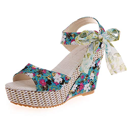 Holiday Sandals Womens (Womens Platform Sandals,❤️ FAPIZI Ladies Open Toe Floral Print Shoes Casual Waterproof Bow Holiday Sandals Shoes Blue)