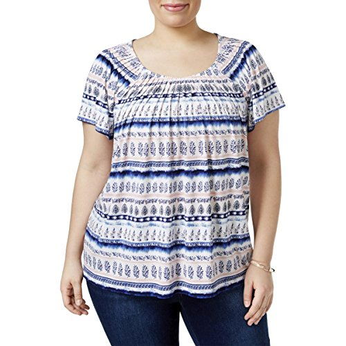 Style & Co. Womens Plus Printed Pleated Casual Top Blue 0X from Style & Co.