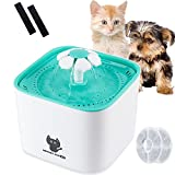 Newstarxy Cat Water Fountain, Automatic Electric Pet Dog Water Dispenser Super Quiet Pump, Filters & Sticky Gel Pads | 2L, Green