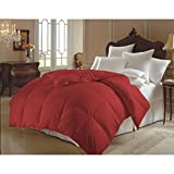 Single Piece King Burgundy Double-Filled Comforter, Duvet Insert, Hypoallergenic, 90 GSM Shell, Piped Edges, Down Alternative, Solid Color, Traditional Style, Polyester Fill, Dark Red, Microfiber