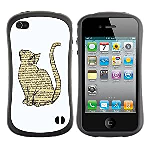 "Pulsar iFace Series Tpu silicona Carcasa Funda Case para Apple iPhone 4 / iPhone 4S , Gato libro Dibujo inteligente Minimalista Blanca"""