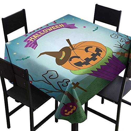 SKDSArts Rectangle tablecloths Halloween pimpkin Cupcakes,W70 x L70 for Umbrella Table]()