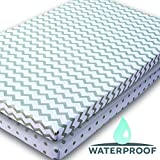 Elys & Co. Kids Waterproof Pack n Play Portable Mini Crib Sheet with Mattress Pad Cover Protection, White and Grey Chevron and Polka Dots (2 Pack)
