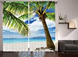 Ambesonne Lonely Palm Tree Curtains, Sand Beach Isolated Philippines Hot Coastline, Window Drapes 2 Panel Set for Living Room Bedroom, 108 W X 90 L Inches Review