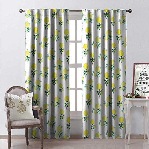 Hengshu Watercolor Flower Window Curtain Fabric Yellow Circle Petals Paintbrush Pastel Blooms Meadow Gardening Drapes for Living Room W96 x L96 Forrest Green White