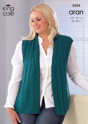 King Cole Plus Size Ladies Jacket Waistcoat Merino Aran Knitting