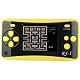 "JJFUN QS-4 Handheld Game Console for Kids,Travel Portable Arcade Entertainment Gaming System Retro FC Video Game Player 2.5"" LCD Built-in 184 Classic Games,Birthday Present for Children(Yellow)"