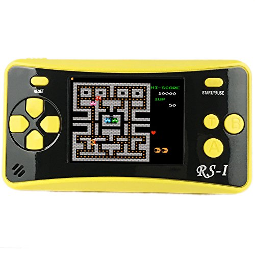 JJFUN RS-1 Handheld Game Console for Children,Retro Game Player with 2.5'' 8-Bit LCD Portable Video Games,The 80's Arcade Video Gaming System,Built-in 152 Classic Old School Games Entertainment-Yellow by JJFUN