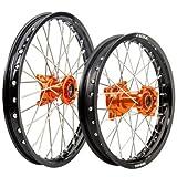 KTM 50 SX Husqvarna TC 50 2015-2018 Tusk IMPACT Complete Front/Rear Wheel Kit 12'' / 10'' Black Rim/Silver Spoke/Orange Hub
