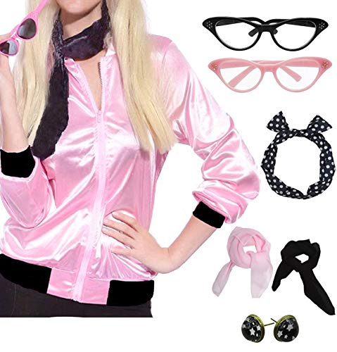 Pink Ladies Jacket From Grease (Womens Pink Party Jacket Costume with 50s Accessories Set (XL,)