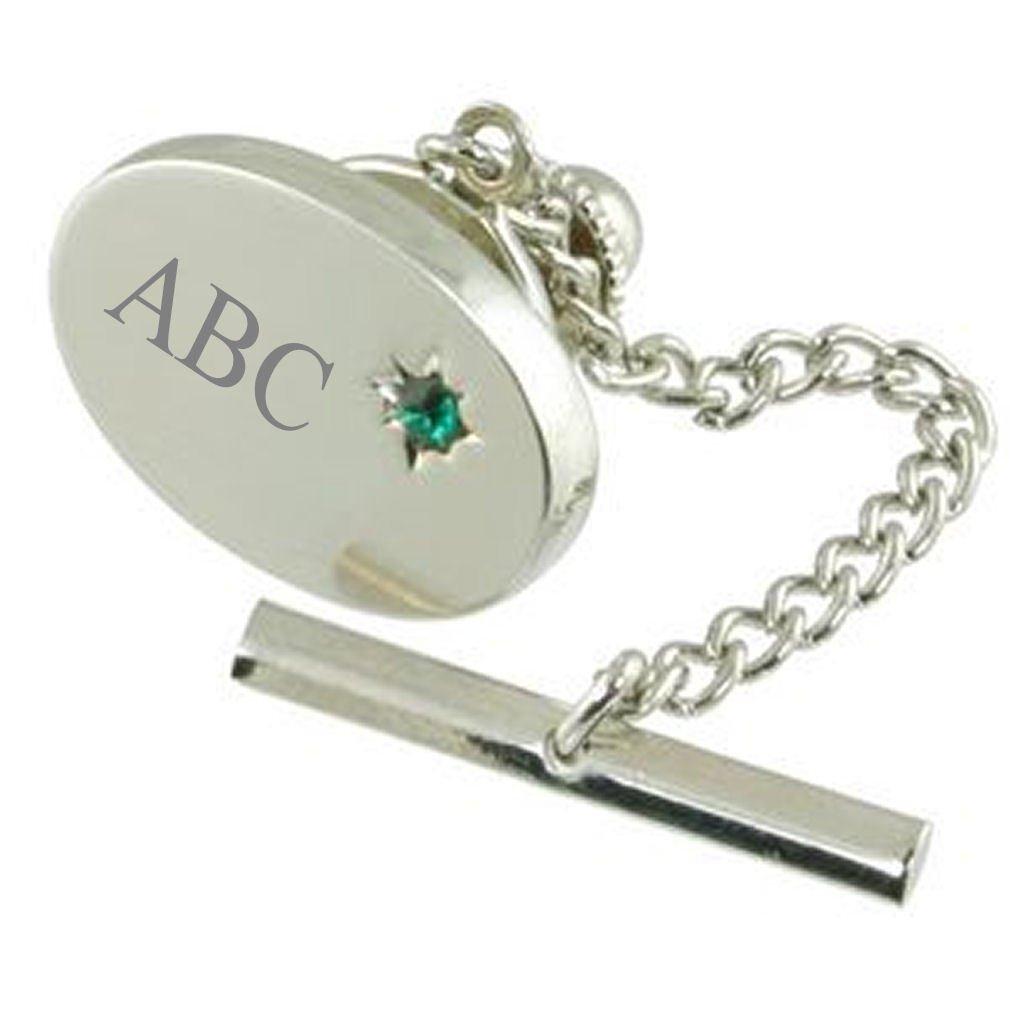 Verde esmeralda cristal grabado corbata Tack ~ personalizado Tie ...