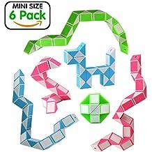 Ganowo Magic Snake Cube Mini 6 Pack-24 Blocks Twist Puzzle Collection Brain Teaser Toy Snake Ruler Fidget Toys Sets Gift for Kids Game Geometric