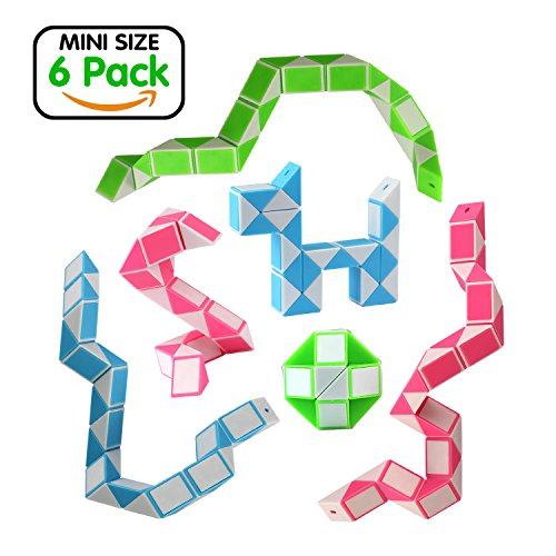 Game Cube Puzzle Toy (Ganowo Magic Snake Cube Mini 6 Pack-24 Blocks Twist Puzzle Collection Brain Teaser Toy Snake Ruler Fidget Toys Sets Gift for Kids Game Geometric)