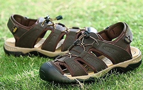 ODEMA Men's Leather Fisherman Walking Shoes Hiking Sandals Darkbrown LfWrBuF9