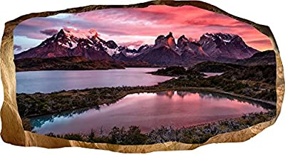 Startonight 3D Mural Wall Art Photo Decor Mountain Lake Amazing Dual View Surprise Large 32.28 inch By 59.06 inch Wall Mural Wallpaper for Living Room or Bedroom Landscape Collection Wall Art