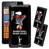 [TeleSkins] - Microsoft Lumia 540 Designer Plastic Case - Basketball Never Stops - Ultra Durable HARD PLASTIC Protective Snap On Back Case / Cover for Microsoft Lumia 540.