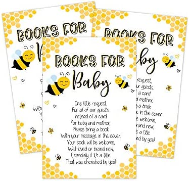 Mom to Bee Baby Shower Book Request Cards, Neutral Yellow Bee Baby Shower Games, Set of 50