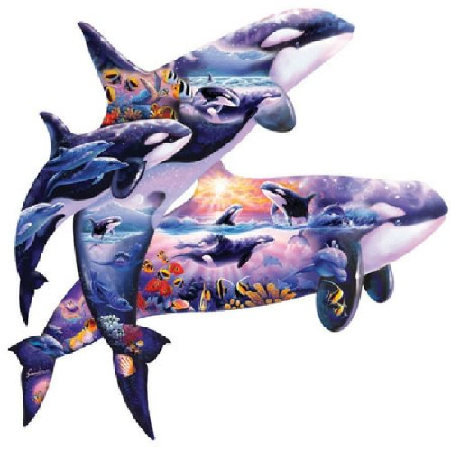Steve Sundram Orcas at Play Shaped Jigsaw Puzzle 1000pc