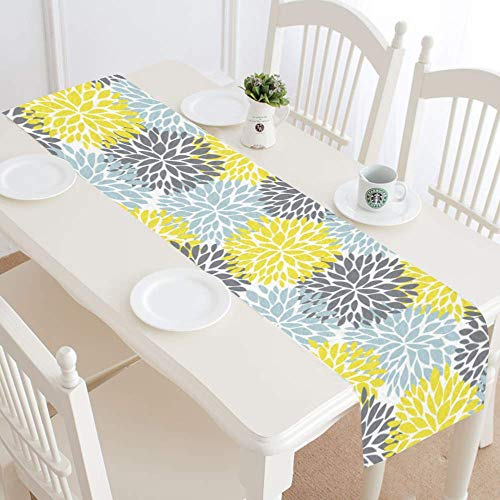 InterestPrint Dahlia Pinnata Flower Yellow Gray Light Blue Table Runner Linen & Cotton Cloth Placemat Home Decor for Wedding Banquet Decoration 16 x 72 Inches -
