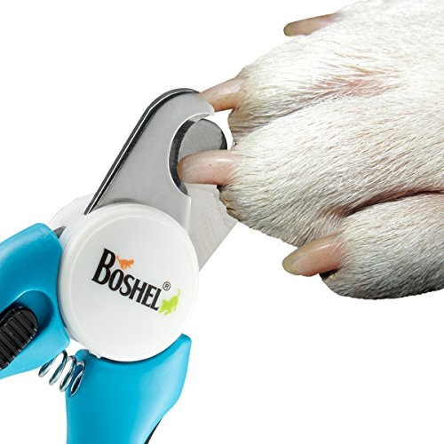 BOSHEL Dog Nail Clippers and Trimmer By With Safety Guard to Avoid Over-cutting Nails & Free Nail File - Razor Sharp Blades - Sturdy Non Slip Handles - For Safe, Professional At Home Grooming