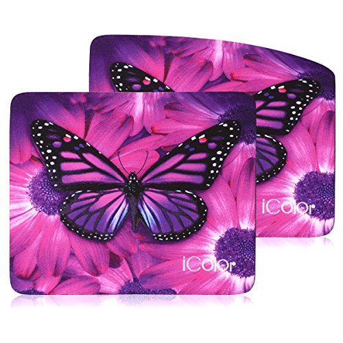 """iColor Cool Mouse Pad 9"""" X 7.5"""" inches, Water Resistant, Non-Slip Base Neoprene Mouse Mat, Computer Gaming Mouse Pads with Butterfly Design,Set of 2 (ICMP-05)"""