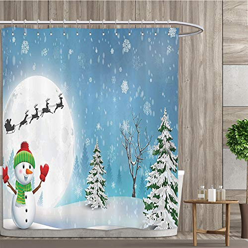 luvolux Christmas Shower Curtain by Jolly Snowman Under Full Moon Waving to Santa Claus with Reindeer Sleigh Kids Fabric Bathroom Decor Set with Hooks,72W x 84L Inches, Taupe