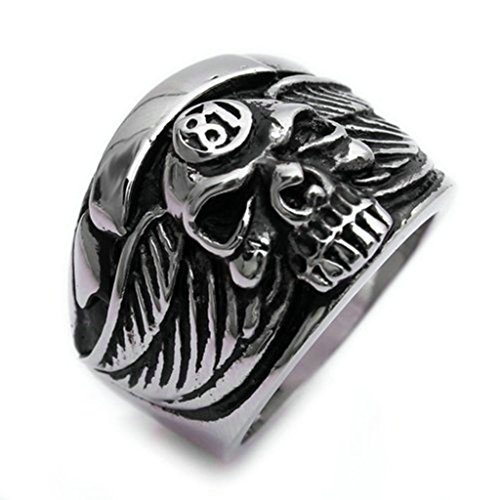 [Stainless Steel Ring for Men, Dead Head Ring Gothic Black Band Silver Band 2025MM Size 9 Epinki] (Boss Hog Costume)
