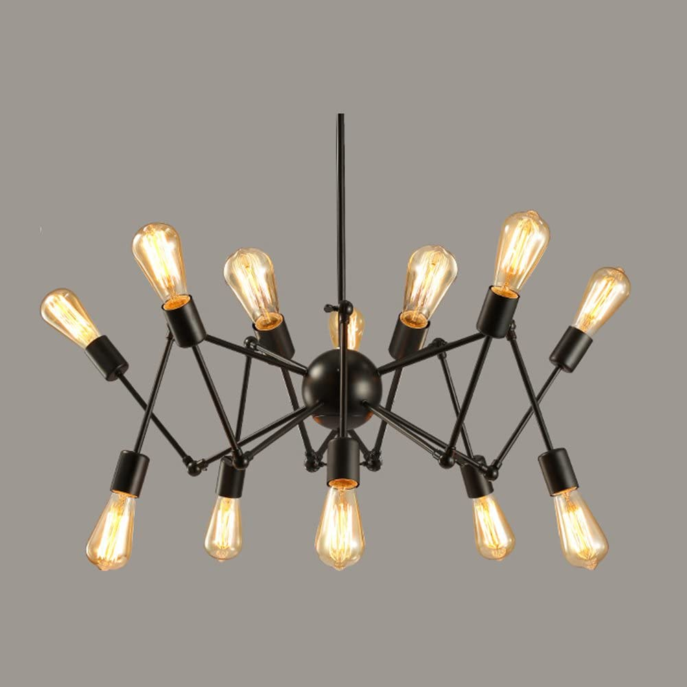 Retro Black Spider Chandelier Lighting Diy Iron Art Bar Restaurant Long Pendant Light Five Sizes 12head Amazon Co Uk Lighting