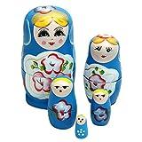 Matushka - SODIAL(R) 5x Matroshka Babuschka Matryoshka Matushka Matyoshka Russian Wooden Doll Color: Blue