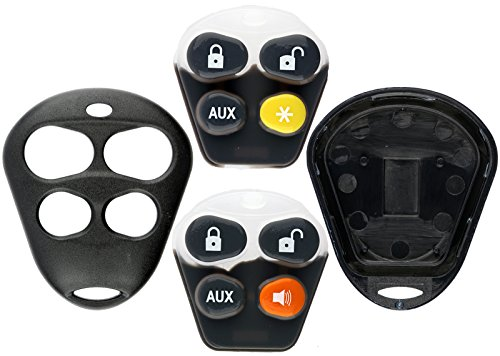 KeylessOption Keyless Entry Remote Control Starter Car Key Fob Case Shell Outer Cover Button Pads For Viper Automate Alarms