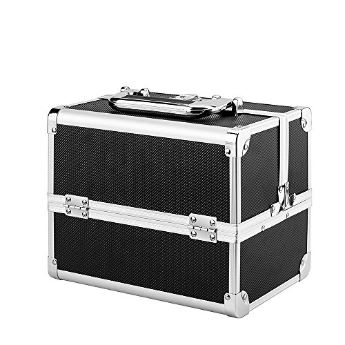 AMASAVA Makeup Train Case, 3 Tiers Makeup Box With Mirror Portable Mini Storage Beauty Box Cosmetic Case Jewelry Organiser Lockable Artist Storage Case Black