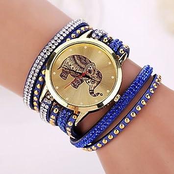 2015 nueva marca de las mujeres relojes de diseño de moda reloj elefante (Color : Azul , Talla : Para Mujer-Una Talla) : Amazon.es: Deportes y aire libre