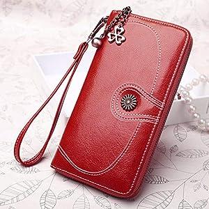 Women Wallet Card Holder Clutch Zipper Handbags Purse Money Pocket Coin Pouch (Color - Wine Red)