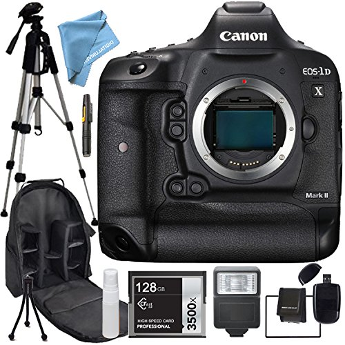 Canon 1D X Mark II EOS-1D X Mark II Body Only, Flash,128GB SDHC Class 10 High Speed Memory Card, Professional Tripod, Camera & Accessory Backpack, SD Card Reader, Memory Card Wallet