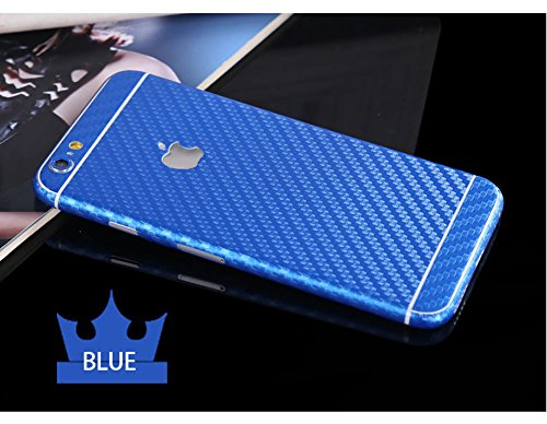 Toeoe 6 Plus Luxury 3D Textured Carbon Fibre Full Body Vinyl Wrap Sticker Skin Cover for Apple iPhone 6 Plus 5.5 inch (Blue)