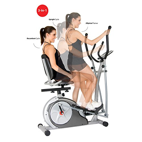 Body Rider BRT3980 Black Friday Fitness Cyber Monday PROMO! 3 in 1 Trio Trainer / Elliptical, Upright Stationary, and Recumbent Exercise Bike ALL IN ONE Space Saving Machine