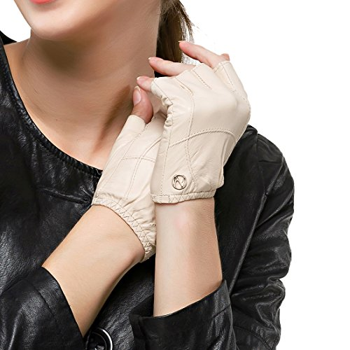 Nappaglo Women's Driving Leather Gloves Half Finger Fingerless Lambskin Leather Fitness Outdoor Shorty Unlined Gloves (S (Palm Girth:6.5