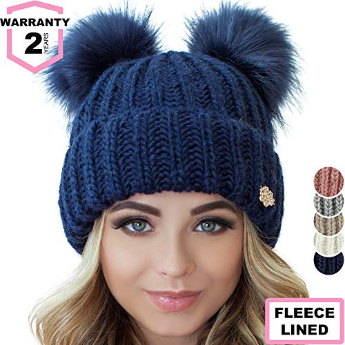 Braxton Beanie Women - 2 Pom Cable Knit Winter Warm Fleece Hat - Wool Snow Cuff Blue Ski ()