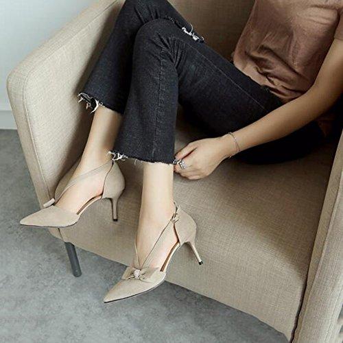 YIXINY Escarpin Station Européenne Strass Chaussures Pour Femmes Talons Hauts Boucle Bowknot Printemps / Été Talon 7cm ( Couleur : 2 , taille : EU39/UK6/CN39 ) 1