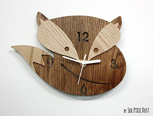 Fox Wooden Wall Clock, Kids Nursery Room, Teens Room, Baby Room - Wall Clock