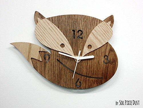 Fox Wooden Wall Clock, Kids Nursery Room, Teens Room, Baby Room - Wall Clock