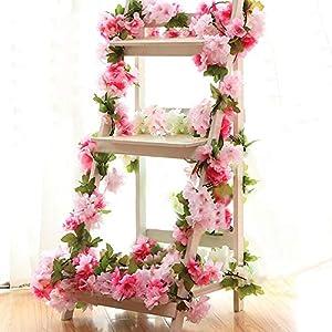 YILIYAJIA 4PCS Artificial Cherry Blossom Garland Hanging Vines Spray Arrangements Faux Sakura Garland Fake Wreath Home Garden Party Wedding Decor 115
