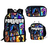 Three-piece Student Backpack Set Lunch Bag Pencil Case Fortnite Colorful School Bag For Boy
