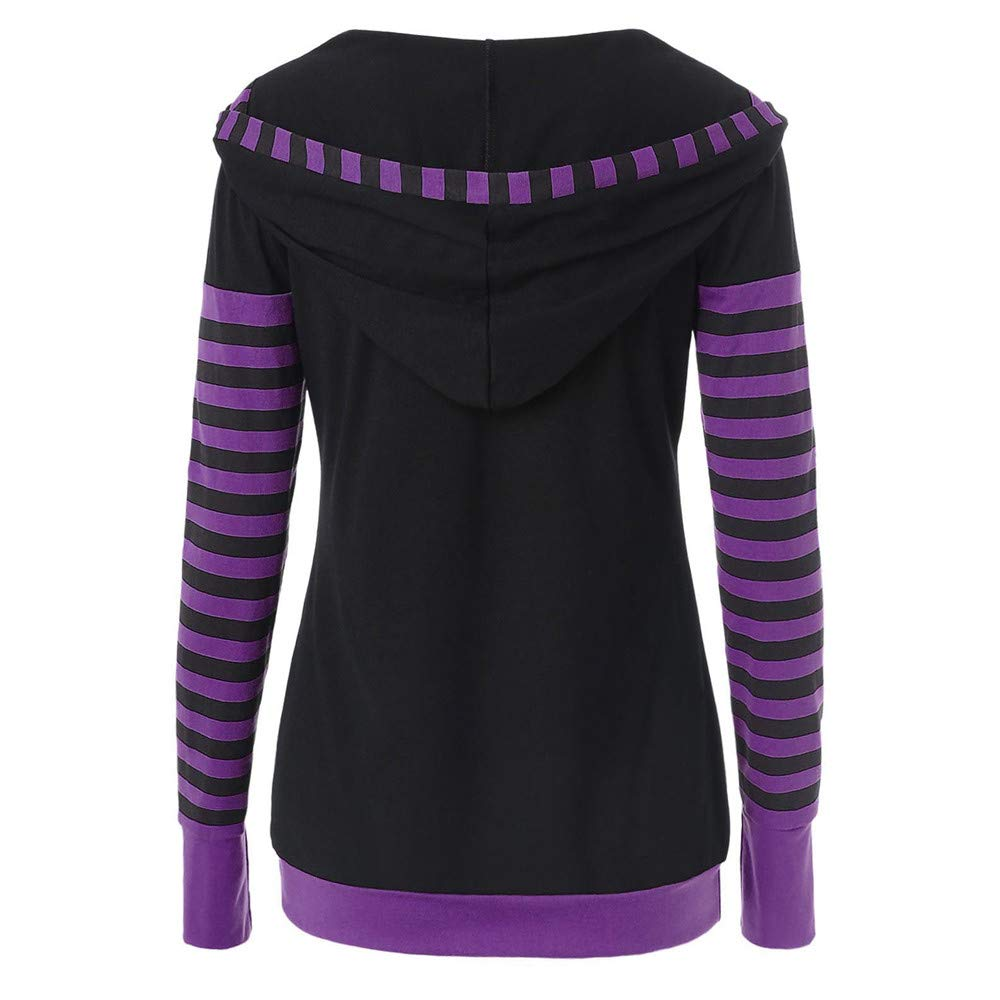 Womens Sweatshirt Women Long Sleeve Striped Patchwork Hooded Casual Hoodies