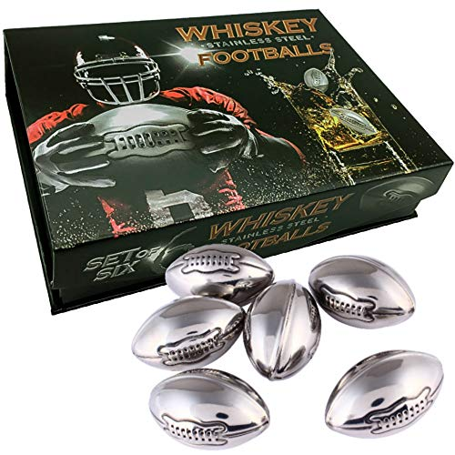 Whiskey Stones Gift Set of 6 Stainless Steel Reusable Football Shaped Ice Cubes.Great for Father's Day Best Man Groomsman Weddings Scotch Wine Beer Chillers.Chilling Rocks for Rugby Fans by TANGRA ()